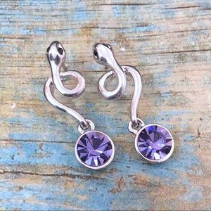 Silver & Purple Crystal Snake Earrings